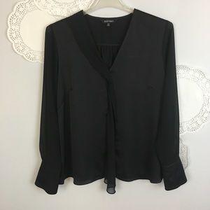 ELLEN TRACY Elegant Black Blouse Ruffle Top Sz XL